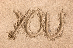 You. Drawing on the sand - You Royalty Free Stock Photography