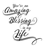 You are an Amazing Blessing in my Life. Calligraphy vector typography design on white background Stock Photo