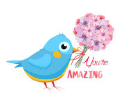 You are Amazing. Greeting card with flower bouquet and bird. Hand drawn lettering. Stock Image