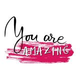 You are amazing.Modern calligraphic style. Hand lettering and custom typography for your designs: t-shirts, bags, for Royalty Free Stock Image