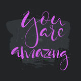 You are amazing text.Card with calligraphy. Handdrawn romantic lettering quote.Great for posters, mugs, apparel design, print Stock Photos