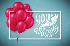 You are amazing. Poster with hand-drawn lettering, vector illustration Royalty Free Stock Photos