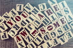 You Are Awesome message Stock Photos