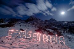 Babia mountains and light painting expression art at night under moonlight snowy landscape. You are in Babia, an spanish expression that means that someone is royalty free stock photos