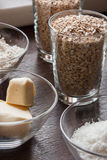 Before you bake cookies. Ingredients for a crunchy oatmeal cookies with coconut Stock Images