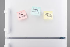 You are beautiful, happy birthday, dont forget to smile notes Royalty Free Stock Photo