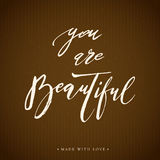 You are beautiful lettering calligraphy. Royalty Free Stock Images