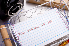 You belong to me card. And elements of photography Stock Photos