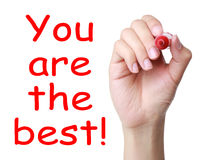 You are the best!. You are the best concept isolated on white background Stock Photography