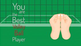 You are the best volley ball player. left hand holding right hand is ready to fair play. beautiful color background.  vector illustration