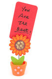 You are the best. Words written on paper of sun flower pot clip Royalty Free Stock Photos