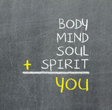You, body, mind, soul, spirit - a simple mind map. For personal growth Stock Image