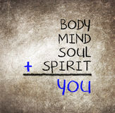 You, body, mind, soul, spirit - a simple mind map Stock Images