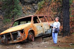 You can be the proud owner. A spoof of lady offers a devastated unsalvageable auto caught in an area wild fire sits hollowed out under burned trees Royalty Free Stock Images