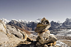 You can build a mountain. A tower of stones, set up by different trekkers and guides. A lot of them can be found in the Himalayas. The top-stone of this one Royalty Free Stock Photography