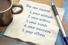 You can control your attitude, actions royalty free stock photos
