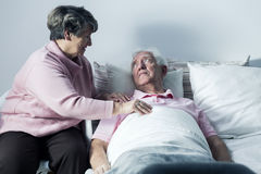 You can count on me. Senior hospice patient and his caring wife Royalty Free Stock Image
