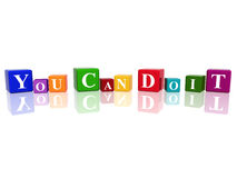 You can do it in 3d cubes. 3d color cubes with text - you can do it Royalty Free Stock Photography