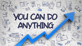 You Can Do Anything Drawn on White Wall. Royalty Free Stock Photography