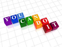 You can do it in colour. 3d colour cubes with text - you can do it, word royalty free illustration