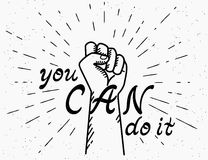 You can do it handwritten text with human fist stock illustration