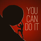 You can do it. A man pushing huge rock. Motivating  EPS10 illustration Royalty Free Stock Photos