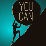 You can do it. A man pushing huge rock. Motivating  EPS10 illustration Stock Images