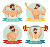 You can do it motivational and inspirational poster set. Gym, bodybuilding, concept image, beard. Royalty Free Stock Photos