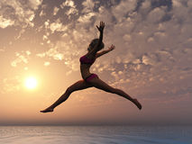 You can fly. Young sexy woman as symbol for self esteem and conficence Royalty Free Stock Image