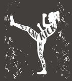 Kickboxing vector illustration with lettering Royalty Free Stock Photos