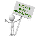You can make a difference. Text over white banner, held up by a little 3d man over white background Stock Photo
