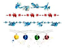 Christmas garlands. Decoration. Watercolor hand drawn illustration royalty free illustration