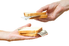 That you can place in a sandwich - your money. Stock Image
