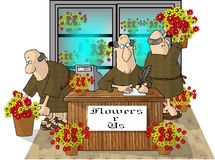 Only you can prevent florist friars. This illustration that I created depicts three monks working in a flower shop Royalty Free Stock Image