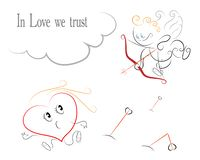 Valentine`s Day Card - Cupid shoots a Heart stock illustration