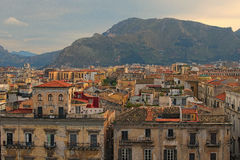You can see amazing cityscape of Palermo. Beautiful tiled roofs of old houses. Nice mountain in the background. Palermo. Sicily. royalty free stock photography