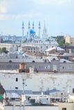 Aerial view of Kazan city. Old city, Kremlin and Kul Sharif mosque. royalty free stock photos