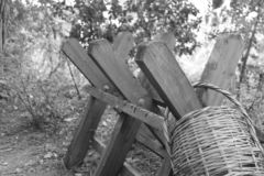 Forgotten Baskets in Strong Structures stock image