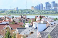 Aerial view of Kazan city. New districts of waterfront. stock photography
