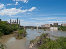 The lions bridge over the ebro river Royalty Free Stock Image