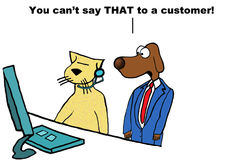 You can't say THAT to a customer! Stock Photography