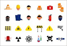 Set of icons of different aspects of workplace safety. You can use all those icons from this set as you want stock illustration
