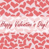 Inscription Happy Valentine`s day on seamless backgroun with red hearts Royalty Free Stock Photos