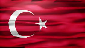 Realistic Seamless Loop Flag of Turkey Waving In The Wind With Highly Detailed Fabric Texture. stock video