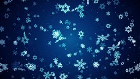 Abstract Christmas stylized snowflakes Slowly moving Video Loop Background