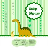 Cute card template of a baby shower invitation with a dinosaur. You can use this favulous background as you want Royalty Free Stock Photos