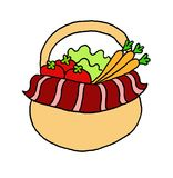 Nice illustration of a basket with vegetables Royalty Free Stock Photography