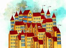 Illustration of an ancient city of European architecture royalty free illustration