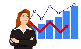 Illustration of a businesswoman with some graphs showing her economic success Royalty Free Stock Images