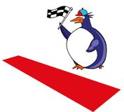 You can win race. Penguin with  flag at finish line Stock Images
